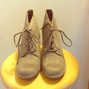Old Navy Light Olive Colored Heeled Ankle Boots